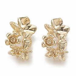 résultats de cuivre, paramètres de strass, fleur avec oiseau, véritable plaqué or, s'adapter pour 0.5~1 mm strass; 15.5x10x5.5 mm(KK-S345-225)