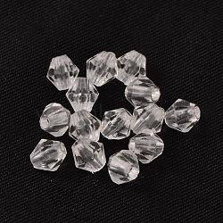 6 mm à facettes perles de cristal toupie perles acryliques claires transparentes, teint, 6mm, Trou: 1mm(X-DBB6mm01)