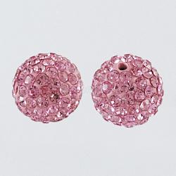 Perles de boule pavé disco , Perles de strass en argile polymère, rond, rose clair, 10mm, Trou: 1.5mm(X-RB-A130-10mm-23)