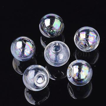rondes main soufflé billes de globe de verre, pour stud boucles d'oreilles de décision ou de l'artisanat, la moitié foré, ab couleur plaquée, clair ab, 18x17.5~18.5 mm, demi-trou: 3.5~4 mm(X-BLOW-R002-18mm-AB)