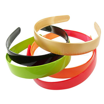 Plain Plastic Hair Band Findings, with Teeth, Mixed Color, 16~25mm wide (X-PJH097Y)