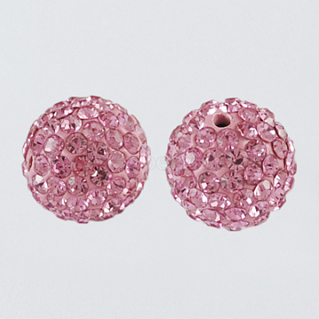 Pave Disco Ball Beads, Polymer Clay Rhinestone Beads, Round, Light Rose, 10mm, Hole: 1.5mm(X-RB-A130-10mm-23)