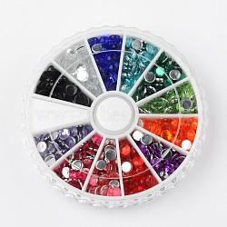 12 цвет имитация Тайвань акриловые горный хрусталь Кабошоны, граненые, полукруглый, разноцветные, 4x1.5 мм; о 65 шт / отсека, 780 шт / коробка(GACR-X0001-4mm-B)