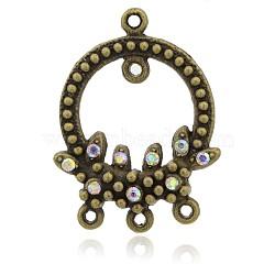 Plaqué bronze antique bague en alliage strass connecteurs chandeliers, sans nickel, cristal ab, 31.5x24x4mm, Trou: 1mm(ALRI-E103-28AB-NF)