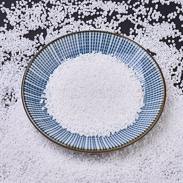 MIYUKI Delica Beads, Cylinder, Japanese Seed Beads, 11/0, (DB0200) Opaque White, 1.3x1.6mm, Hole: 0.8mm; about 2000pcs/bottle, 10g/bottle(SEED-JP0008-DB0200)