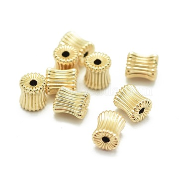 Yellow Gold Filled Corrugated Beads, 1/20 14K Gold Filled, Cadmium Free & Nickel Free & Lead Free, Barrel, 6x5.3mm, Hole: 1.5mm(KK-L183-033G)