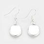 Silver Alloy Earring Settings(X-MAK-R009-06S)