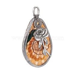 Gros pendentifs vernissées manuels, avec des trouvailles en alliage de sable doré et d'argent antique, larme avec rose, Sandybrown, 72.5~73x38~38.5x12~13mm, Trou: 8x5mm(PALLOY-L225-C01-AS)