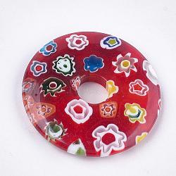 Pendentifs de millefiori vernissés, disque de donut / pi, rouge, 44.5~45x6mm, Trou: 8~10mm(LAMP-S191-13A)