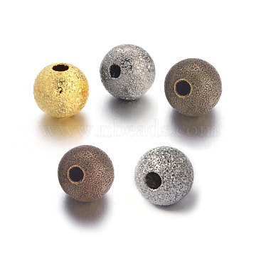 Brass Textured Beads, Nickel Free, Round, Mixed Color, 6mm(EC248-NF-M)