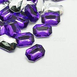 Акриловые стразы - кабошоны , заостренный назад и граненый, прямоугольник восьмиугольник, фиолетово-синие, 18x13x5 мм(GACR-A010-13x18mm-04)
