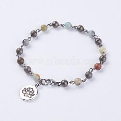"""Bracelets de cheville amazonite naturelle, avec 304 fermoir à pince de homard en acier inoxydable et des pendanes de style tibétain, lotus, 8-7/8"""" (225 mm)(AJEW-AN00217-02)"""