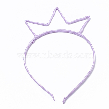 Hair Accessories Iron Hair Band Findings, with Cloth, Violet, 110~125mm; 4mm(OHAR-T002-01B)