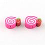 Handmade Cake Polymer Clay Beads, Deep Pink, 9~10x12~13x4mm, Hole: 1mm