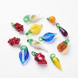 Handmade Lampwork Beads, Mixed Color, Size: about 10.5~15mm in diameter, 22~34.5mm long, hole: 3mm(X-LAMP-Q020-M)