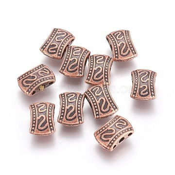 Tibetan Style Multi-Strand Links, Rectangle, Nickel Free, Red Copper, 10.5x7.5x4mm, Hole: 2mm and 1.2mm(PALLOY-L214-84R-NF)