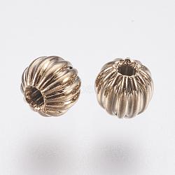 Brass Corrugated Beads, Round, Coffee Golden, 4mm, Hole: 1mm(KK-K224-05G)