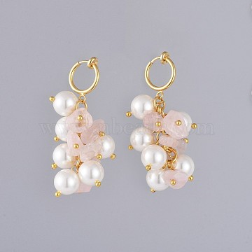 Natural Rose Quartz Chip Clip-on Earrings, with Shell Pearl Beads, Brass Hoop Earring Findings and Cardboard Packing Box, 49mm(EJEW-JE03834-01)
