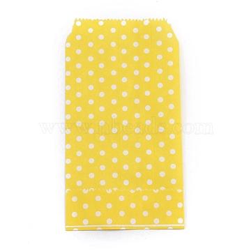 Kraft Paper Bags, No Handles, Storage Bags, White Polka Dot Pattern, Wedding Party Birthday Gift Bag, Yellow, 15x8.3x0.02cm(CARB-I001-04A)