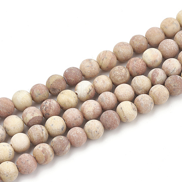 Natural Wood Lace Stone Beads Strands, Frosted, Round, 10mm, Hole: 1.2mm; about 36pcs/strand, 15.5inches(G-T106-264)