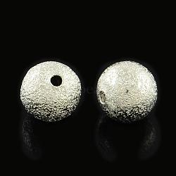 Perles en laiton texturées, rond, platine, 12mm, Trou: 2mm(KK-R012-12mm-P)