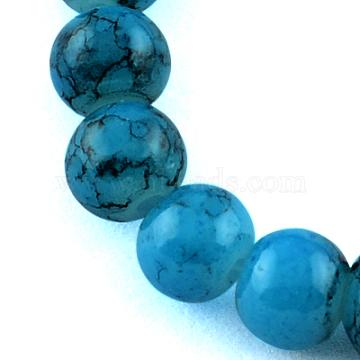 4mm DeepSkyBlue Round Drawbench Glass Beads