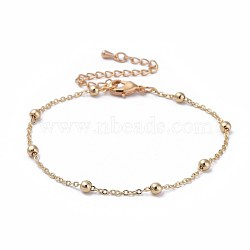 Brass Cable Chain Bracelets, with Beads and Lobster Claw Clasps, Packing Bo, Real 18K Gold Plated, 7-7/8 inches(20cm); 1.5mm(X-BJEW-JB04528-02)