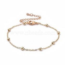 bracelets de chaîne de câble en laiton, avec des perles et des pinces de homard, emballage bo, réel 18 k plaqué or, 7-7 / 8 (20 cm); 1.5 mm(X-BJEW-JB04528-02)