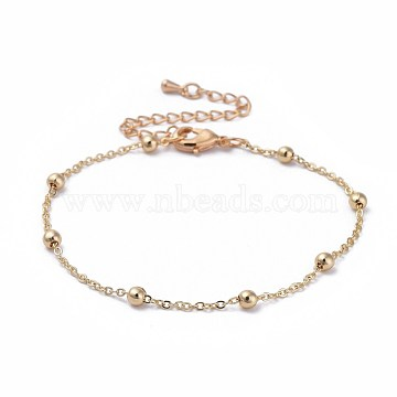 Brass Cable Chain Bracelets, with Beads and Lobster Claw Clasps, Packing Bo, Real 18K Gold Plated, 7-7/8 inches(20cm), 1.5mm(X-BJEW-JB04528-02)