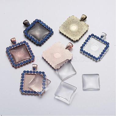 Square Alloy+Glass Pendant Making