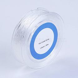 Chaîne de cristal élastique, fil de perles élastique, pour la fabrication de bracelets élastiques, blanc, 1mm, 30m/rouleau(EW-G009-01-1mm)