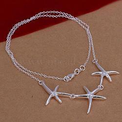 """Plaqué argent populaire laiton trois pendentifs étoiles de mer pour les femmes, 18""""(NJEW-BB12778)"""