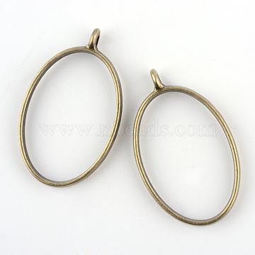 Rack Plating Alloy Oval Open Back Bezel Pendants, For DIY UV Resin, Epoxy Resin, Pressed Flower Jewelry, Cadmium Free & Nickel Free & Lead Free, Antique Bronze, 39x23.8x3.5mm, Hole: 2.8mm; Inner Diameter: 31.2x20.8mm(X-PALLOY-S047-26F-FF)