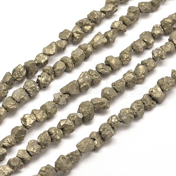 7mm DarkKhaki Nuggets Pyrite Beads