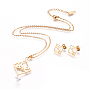 Stainless Steel Stud Earrings & Necklaces(SJEW-I197-01G)