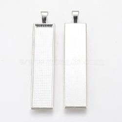 Alliage grand pendentif cabochon paramètres, cuvettes à bord droit, rectangle, plaqué argent, plateau: 50x10 mm; 60.5x13x2.7 mm, trou: 3.5x5.5 mm(X-PALLOY-WH0037-02S)