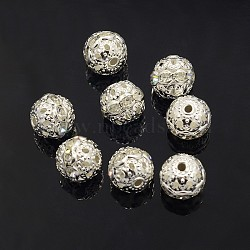 Brass Grade A Rhinestone Beads, Silver Color Plated, Round, Crystal, 10mm, Hole: 1.2mm(X-RB-A011-10mm-01S)