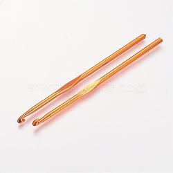 Aluminium crochets, orange foncé, broche: 5.0 mm; 148x4.5 mm(TOOL-R058-07A)