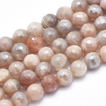 Electroplate Natural Sunstone Beads Strands, Faceted, Round, 8mm, Hole: 1mm; about 50pcs/strand, 15.7inches(G-K256-17-8mm)
