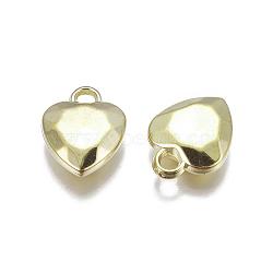 пластиковые сердечные кулоны ccb, граненый, золотой, 20x15x5 mm, отверстия: 3 mm(CCB-J027-67G)