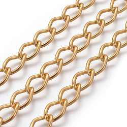 losange chaînes en aluminium tordu gourmette, non soudée, oxydé en or, lien: 9x14 mm(X-CHR001Y-29)
