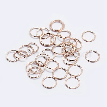 925 Sterling Silver Open Jump Rings, Round Rings, Rose Gold, 7x1mm, Inner Diameter: 5mm, about 64pcs/10g(STER-F036-02RG-1x7mm)