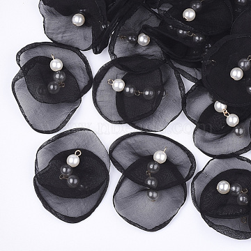 Organza Fabric Pendants, with Iron Findings and ABS Plastic Imitation Pearl, Light Gold, Black, 40~55x43~53mm, Hole: 2mm(X-FIND-S303-02A)