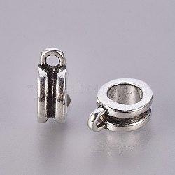 Cintres de style tibétain , Perles renflouer , sans plomb, sans cadmium et sans nickel, plat rond, couleur argent antique, taille:  Largeur environ 8mm, Longueur 11mm, épaisseur de 4mm, 5 mm de diamètre intérieur , trou: 2 mm et 5 mm(X-EBP006Y-1-NF)