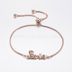"""Bracelets bolo extensibles en laiton avec zircon cubique de micro pavé, Bracelets coulissants, avec des chaînes de boîte en laiton, Amour, or rose, 10-5/8"""" (270 mm)(BJEW-F302-01RG)"""