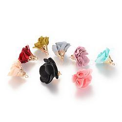 Décorations de pendentif en tissu manuels, avec les accessoires en alliage, fleur, couleur mixte, 24~26x24~25mm, Trou: 2mm(FIND-063-01)