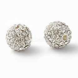 Alloy Beads, with Rhinestones, Grade A, Round, Silver Color Plated, Clear, Size: about 10mm in diameter hole: 2mm(X-RB-Q060-2)