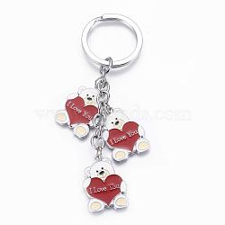 Porte-clés en alliage de zinc, avec l'émail, porte-clés en fer et chaînes de fer, ours avec coeur et je t'aime, pour la saint valentin, platine, colorées, 116mm(X-KEYC-K006-52)
