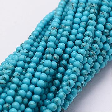 2mm Round Synthetic Turquoise Beads