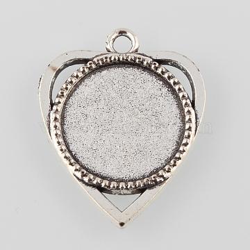 Tibetan Style Antique Silver Alloy Heart Pendant Cabochon Settings, Cadmium Free & Lead Free, Tray: 18mm, 30.5x25x2.5mm, Hole: 2mm(X-TIBEP-M022-33AS)